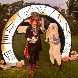 The White Rabbit bounces off the storybook page and into real life! A larger-than-life, beautifully soft, white rabbit brings a gentle joy and whimsy to any event. Perhaps you'll take a trip down the rabbit hole to Wonderland, or maybe into the garden with Peter Rabbit. Into a fairytale woodland or out of a magicians hat, The White Rabbit is available as a roving character, a featured storyteller, or as a magic show.
